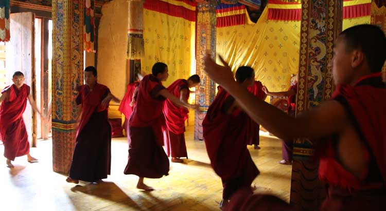 Monks preparing for Mask dance