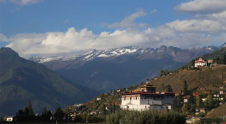 Paro Dzong from distance