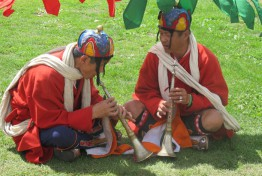 Performers at the festival ready their instruments