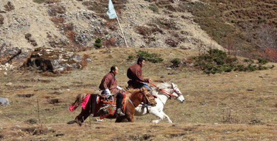 People of the valley participate in a horse race