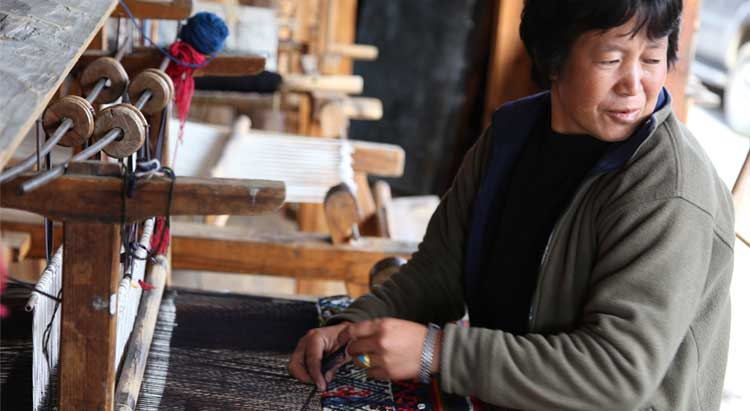 Woman weaving